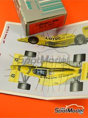 Tameo Kits: Model car kit 1/43 scale - Lotus Honda 99T Camel #11, 12 - Ayrton Senna (BR), Satoru Nakajima (JP) - USA Grand Prix 1987 - photo-etched parts, turned metal parts, water slide decals, white metal parts and assembly instructions image