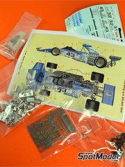 Tameo Kits: Model car kit 1/43 scale - Brabham Ford BT42 Casino Baden #31, 32, 43 - Gérard Larrousse (FR), Carlo Facetti (IT), Helmuth Koinigg (AT) - Austrian Grand Prix, Belgian Grand Prix, Italian Grand Prix 1974 - photo-etched parts, turned metal parts, water slide decals, white metal parts and assembly instructions image