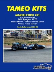 Tameo Kits: Model car kit 1/43 scale - March Ford 701 Dunlop #1 - Sir John Young 'Jackie' Stewart (GB), Johnny Servoz-Gavin (FR) - Spanish Grand Prix 1970 - photo-etched parts, turned metal parts, water slide decals, white metal parts and assembly instructions