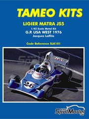 Tameo Kits: Model car kit 1/43 scale - Ligier Matra JS5 Gitanes #26 - Jacques Laffite (FR) - USA West Long Beach Grand Prix 1976 - photo-etched parts, rubber parts, turned metal parts, water slide decals, white metal parts and assembly instructions