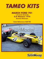 Tameo Kits: Model car kit 1/43 scale - March Ford 701 Antique Automobiles Ltd #23 - Ronnie Peterson (SE) - Monaco Formula 1 Grand Prix 1970 - photo-etched parts, rubber parts, turned metal parts, vacuum formed parts, water slide decals, white metal parts, other materials and assembly instructions image