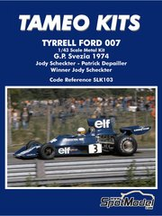 Tameo Kits: Model car kit 1/43 scale - Tyrrell Ford 007 ELF #3, 4 - Jody Scheckter (ZA), Patrick Depailler (FR) - Swedish Grand Prix 1974 - metal parts, photo-etched parts, rubber parts, turned metal parts, water slide decals, white metal parts, assembly instructions and painting instructions image