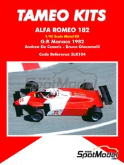 Tameo Kits: Model car kit 1/43 scale - Alfa Romeo 182 Michelin #22, 23 - Andrea de Cesaris (IT), Bruno Giacomelli (IT) - Monaco Formula 1 Grand Prix 1982 - photo-etched parts, rubber parts, turned metal parts, water slide decals, white metal parts and assembly instructions