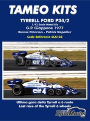 Tameo Kits: Model car kit 1/43 scale - Tyrrell Ford P34/2 ELF #3, 4 - Ronnie Peterson (SE), Patrick Depailler (FR) - Japan Grand Prix 1977 - photo-etched parts, rubber parts, turned metal parts, vacuum formed parts, water slide decals, white metal parts and assembly instructions
