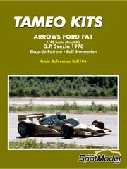 Tameo Kits: Model car kit 1/43 scale - Arrows Ford FA1 Warsteiner #35, 36 - Riccardo Patrese (IT), Rolf Stommelen (DE) - Swedish Grand Prix 1978 - photo-etched parts, rubber parts, white metal parts, other materials, assembly instructions and painting instructions image