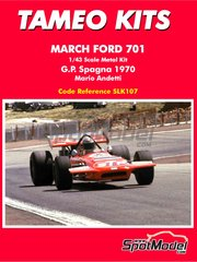Tameo Kits: Model car kit 1/43 scale - March Ford 701 STP #18 - Mario Andretti (US) - Spanish Formula 1 Grand Prix 1970 - photo-etched parts, rubber parts, vacuum formed parts, water slide decals, white metal parts, assembly instructions and painting instructions image
