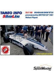 Tameo Kits: Model car kit 1/43 scale - Brabham BMW BT50 Parmalat #5 - Nelson Piquet (BR) - British Grand Prix 1981 - photo-etched parts, rubber parts, turned metal parts, vacuum formed parts, water slide decals, white metal parts, assembly instructions and painting instructions
