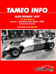 Tameo Kits: Model car kit 1/43 scale - Alfa Romeo 182T - Andrea de Cesaris (IT) - Italian Grand Prix 1982 - photo-etched parts, rubber parts, turned metal parts, water slide decals, white metal parts, assembly instructions and painting instructions image
