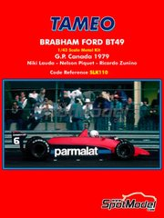 Tameo Kits: Model car kit 1/43 scale - Brabham Ford BT49 Parmalat #5 - Niki Lauda (AT), Nelson Piquet (BR), Ricardo Zunino (AR) - Canadian Grand Prix 1979 - photo-etched parts, rubber parts, water slide decals, white metal parts, other materials, assembly instructions and painting instructions