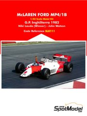 Tameo Kits: Model car kit 1/43 scale - McLaren Ford MP4/1B Marlboro #7, 8 - Niki Lauda (AT), John Watson (GB) - FIA Formula 1 World Championship 1982 - photo-etched parts, rubber parts, vacuum formed parts, water slide decals, white metal parts, assembly instructions and painting instructions