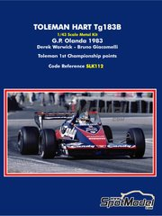 Tameo Kits: Model car kit 1/43 scale - Toleman Hart TG183B Candy Magirus - Derek Warwick (GB), Bruno Giacomelli (IT) - Dutch Formula 1 Grand Prix 1983 - metal parts, photo-etched parts, rubber parts, turned metal parts, vacuum formed parts, water slide decals, white metal parts and assembly instructions