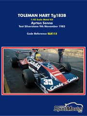 Tameo Kits: Model car kit 1/43 scale - Toleman Hart TG183B Candy Magirus - Ayrton Senna (BR) - Test Silverstone 1983 - metal parts, photo-etched parts, rubber parts, turned metal parts, vacuum formed parts, water slide decals, white metal parts, assembly instructions and painting instructions