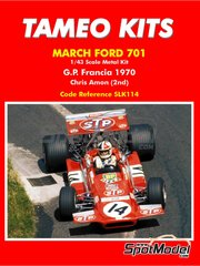 Tameo Kits: Model car kit 1/43 scale - March Ford 701 STP #14 - Chris Amon (NZ) - French Formula 1 Grand Prix 1970 - metal parts, photo-etched parts, rubber parts, turned metal parts, water slide decals, white metal parts, assembly instructions and painting instructions