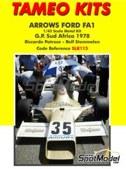 Tameo Kits: Model car kit 1/43 scale - Arrows Ford FA1 Warsteiner #35, 36 - Riccardo Patrese (IT), Rolf Stommelen (DE) - South African Grand Prix 1978 - metal parts, photo-etched parts, rubber parts, water slide decals, white metal parts, assembly instructions and painting instructions