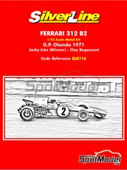 Tameo Kits: Model car kit 1/43 scale - Ferrari 312B2 #2, 3 - Jacques Bernard 'Jacky' Ickx (BE), Clay Regazzoni (CH) - Dutch Grand Prix 1971 - metal parts, photo-etched parts, rubber parts, turned metal parts, water slide decals, white metal parts, other materials, assembly instructions and painting instructions