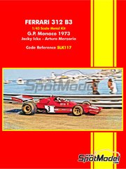Tameo Kits: Model car kit 1/43 scale - Ferrari 312 B3 #3 - Jacques Bernard 'Jacky' Ickx (BE), Arturo Merzario (IT) - Monaco Formula 1 Grand Prix 1973 - photo-etched parts, rubber parts, water slide decals, white metal parts, assembly instructions and painting instructions image
