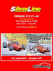 Tameo Kits: Model car kit 1/43 scale - Ferrari 312 F1 #5, 6 - Chris Amon (NZ), Jacques Bernard 'Jacky' Ickx (BE) - British Formula 1 Grand Prix 1968 - photo-etched parts, rubber parts, water slide decals, white metal parts, assembly instructions and painting instructions