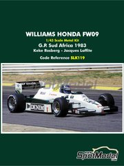 Tameo Kits: Model car kit 1/43 scale - Williams Honda FW09 TAG Denim #1, 2 - Keijo Erik 'Keke' Rosberg (FI), Jacques Laffite (FR) - South African Formula 1 Grand Prix 1983 - metal parts, photo-etched parts, rubber parts, turned metal parts, vacuum formed parts, water slide decals, white metal parts, assembly instructions and painting instructions