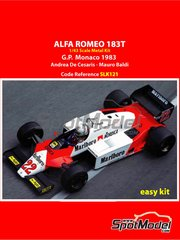 Tameo Kits: Model car kit 1/43 scale - Alfa Romeo 183T Marlboro #22 - Andrea de Cesaris (IT), Mauro Baldi (IT) - Monaco Formula 1 Grand Prix 1983 - photo-etched parts, rubber parts, water slide decals, white metal parts, assembly instructions and painting instructions