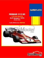 Tameo Kits: Model car kit 1/43 scale - Ferrari 312 B3 Shell #7 1973 - plastic parts, rubber parts, white metal parts, assembly instructions and painting instructions