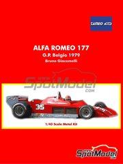 Tameo Kits: Model car kit 1/43 scale - Alfa Romeo 177 #35 - Bruno Giacomelli (IT) - Belgian Formula 1 Grand Prix 1979 - rubber parts, water slide decals, white metal parts, assembly instructions and painting instructions