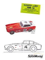 Tameo Kits: Model car kit 1/43 scale - Ferrari 340 Mexico Coupe #4 - Phil Hill (US), Richie Ginther (US) - Carrera Panamericana 1953 - photo-etched parts, turned metal parts, water slide decals, white metal parts and assembly instructions