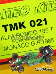 Tameo Kits: Model car kit 1/43 scale - Alfa Romeo 185T Benetton #22, 23 - Riccardo Patrese (IT), Eddie Cheever (US) - Monaco Grand Prix 1985 - photo-etched parts, turned metal parts, water slide decals, white metal parts and assembly instructions