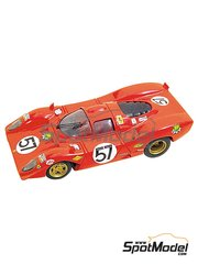 Tameo Kits: Model car kit 1/43 scale - Ferrari 312P Coupe #57 - Chuck Parsons (US), Tony Adamowicz (US) - 24 Hours Le Mans 1970 - photo-etched parts, turned metal parts, water slide decals, white metal parts and assembly instructions
