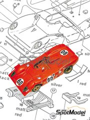 Tameo Kits: Model car kit 1/43 scale - Ferrari 312P Spyder BOAC 500 Shell #60 - Chris Amon (NZ), Pedro Rodriguez (MX) - 6 Hours Brands Hatch 1969 - photo-etched parts, turned metal parts, water slide decals, white metal parts and assembly instructions