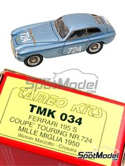 Tameo Kits: Model car kit 1/43 scale - Ferrari 195 S Coupe #724 - Giannino Marzotto (IT), Marco Crosara (IT) - Mile Miglia 1950 - photo-etched parts, turned metal parts, water slide decals, white metal parts and assembly instructions