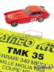 Tameo Kits: Model car kit 1/43 scale - Ferrari 340 Mexico Coupe #637 - Eugenio Castelotti (IT) + Ivo Regosa (IT) - Mile Miglia 1953 - photo-etched parts, turned metal parts, water slide decals, white metal parts and assembly instructions