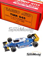 Tameo Kits: Model car kit 1/43 scale - Osella Alfa Romeo FA1/G #21, 22 - Christian Danner (DE), Piercarlo Ghinzani (IT) - USA Formula 1 Grand Prix 1986 - photo-etched parts, turned metal parts, water slide decals, white metal parts and assembly instructions
