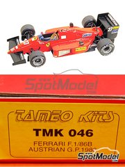 Tameo Kits: Model car kit 1/43 scale - Ferrari F1/86B - Michele Alboreto (IT), Stefan Johansson (SE) - Austrian Grand Prix 1986 - photo-etched parts, turned metal parts, water slide decals, white metal parts and assembly instructions