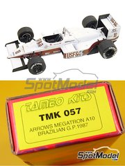 Tameo Kits: Model car kit 1/43 scale - Arrows Megatron A10 Bosch #17, 18 - Eddie Cheever (US), Derek Warwick (GB) - Brazilian Grand Prix 1987 - photo-etched parts, turned metal parts, water slide decals, white metal parts and assembly instructions