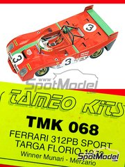 Tameo Kits: Model car kit 1/43 scale - Ferrari 312PB Sport Shell #3 - Sandro Munari (IT), Arturo Merzario (IT) - Targa Florio 1972 - photo-etched parts, turned metal parts, water slide decals, white metal parts and assembly instructions