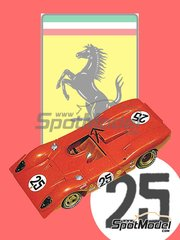 Tameo Kits: Model car kit 1/43 scale - Ferrari 312P Spyder #25 - Mario Andretti (US), Chris Amon (NZ) - 12 Hours Sebring 1969 - photo-etched parts, turned metal parts, water slide decals, white metal parts and assembly instructions