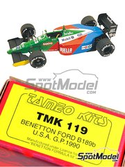 Tameo Kits: Model car kit 1/43 scale - Benetton Ford B189 Riello #19, 20 - Alessandro Nannini (IT), Nelson Piquet (BR) - USA Grand Prix 1990 - photo-etched parts, turned metal parts, water slide decals, white metal parts and assembly instructions