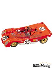 Tameo Kits: Model car kit 1/43 scale - Ferrari 312P Sport Shell #25 - Jacques Bernard 'Jacky' Ickx (BE), Mario Andretti (US) - 12 Hours Sebring 1971 - photo-etched parts, turned metal parts, water slide decals, white metal parts and assembly instructions