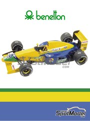 Tameo Kits: Model car kit 1/43 scale - Benetton Ford B191b Mobil1 #19, 20 - Michael Schumacher (DE), Martin Brundle (GB) - South African Formula 1 Grand Prix 1992 - photo-etched parts, turned metal parts, water slide decals, white metal parts and assembly instructions