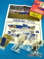 Tameo Kits: Model car kit 1/43 scale - Ligier Mugen Honda JS41 Gitanes #25, 26 - Olivier Panis (FR), Aguri Suzuki (JP) - Argentine Formula 1 Grand Prix 1995 - photo-etched parts, turned metal parts, water slide decals, white metal parts and assembly instructions