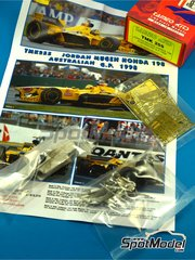 Tameo Kits: Model car kit 1/43 scale - Jordan Mugen Honda 198 Benson and Hedges #9, 10 - Damon Hill (GB), Michael Schumacher (DE) - Australian Formula 1 Grand Prix 1998 - photo-etched parts, turned metal parts, water slide decals, white metal parts and assembly instructions