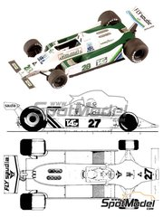 Tameo Kits: Model car kit 1/43 scale - Williams Ford FW07 TAG Saudia #27, 28 - Clay Regazzoni (CH), Alan Jones (AU) - German Grand Prix, British Grand Prix 1979 - photo-etched parts, turned metal parts, water slide decals, white metal parts and assembly instructions