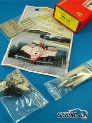 Tameo Kits: Model car kit 1/43 scale - Ferrari 126C2 Fiat #27, 28 - Gilles Villeneuve (CA), Didier Pironi (FR) - Belgian Formula 1 Grand Prix 1982 - photo-etched parts, turned metal parts, water slide decals, white metal parts and assembly instructions
