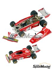 Tameo Kits: Model car kit 1/43 scale - Ferrari 312B3 #11, 12 - Niki Lauda (AT), Clay Regazzoni (CH) - Dutch Grand Prix 1974 - photo-etched parts, turned metal parts, water slide decals, white metal parts and assembly instructions