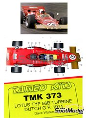 Tameo Kits: Model car kit 1/43 scale - Lotus Type 56B - Dave Walker (AU) - Dutch Grand Prix 1971 - photo-etched parts, turned metal parts, water slide decals, white metal parts and assembly instructions