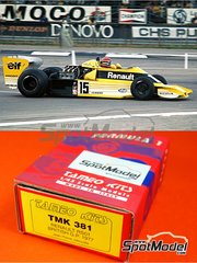 Tameo Kits: Model car kit 1/43 scale - Renault RS01 Turbo ELF #15 - Jean-Pierre Jabouille (FR) - British Grand Prix 1977 - photo-etched parts, turned metal parts, water slide decals, white metal parts and assembly instructions