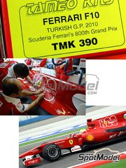 Tameo Kits: Model car kit 1/43 scale - Ferrari F10 800 Grand Prix Banco Santander #7, 8 - Fernando Alonso (ES), Felipe Massa (BR) - Turkish Grand Prix 2010 - photo-etched parts, turned metal parts, water slide decals, white metal parts and assembly instructions