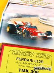 Tameo Kits: Model car kit 1/43 scale - Ferrari 312B TAG Heuer #6, 7 - Jacques Bernard 'Jacky' Ickx (BE), Mario Andretti (US), Clay Regazzoni (CH) - South African Grand Prix 1971 - photo-etched parts, turned metal parts, water slide decals, white metal parts and assembly instructions