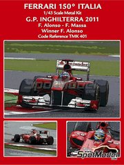 Tameo Kits: Model car kit 1/43 scale - Ferrari 150 Italia Banco Santander #5, 6 - Fernando Alonso (ES), Felipe Massa (BR) - British Grand Prix 2011 - photo-etched parts, turned metal parts, water slide decals, white metal parts and assembly instructions