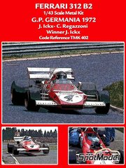 Tameo Kits: Model car kit 1/43 scale - Ferrari 312 B2 Shell #4, 9 - Jacques Bernard 'Jacky' Ickx (BE), Clay Regazzoni (CH) - German Grand Prix 1972 - photo-etched parts, turned metal parts, water slide decals, white metal parts and assembly instructions